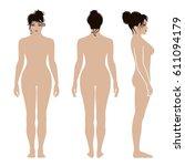 full length front  back  side... | Shutterstock .eps vector #611094179