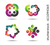 vector community logo icons of... | Shutterstock .eps vector #611094365