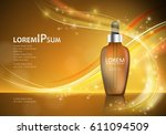 serum essence with dropper on... | Shutterstock .eps vector #611094509
