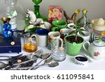 garage sale yard sale old... | Shutterstock . vector #611095841