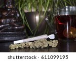 closeup of rolled marijuana... | Shutterstock . vector #611099195