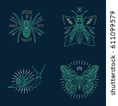 set of thin line insects icons. ... | Shutterstock .eps vector #611099579