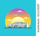 charging electric sedan car... | Shutterstock .eps vector #611110187