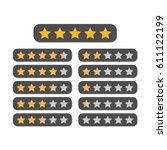 star rating in yellow and blue. ... | Shutterstock .eps vector #611122199