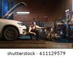 engine tamer. auto repair shop... | Shutterstock . vector #611129579