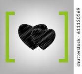 two hearts sign. vector. black... | Shutterstock .eps vector #611130569