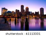 Stock photo boston skyline at dusk in massachusetts usa 61113331