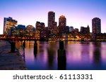 Stock photo boston skyline at dusk in massachusetts usa 61113331