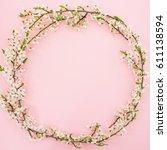 frame of spring flowers...   Shutterstock . vector #611138594