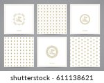 luxury retro wedding cards with ... | Shutterstock .eps vector #611138621