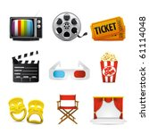movie entertainment icons | Shutterstock .eps vector #61114048
