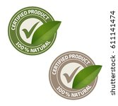certified natural product green ... | Shutterstock .eps vector #611141474