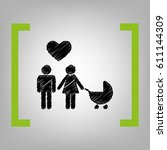 family symbol with pram and... | Shutterstock .eps vector #611144309