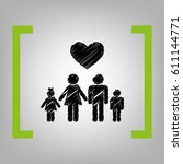 family symbol with heart....   Shutterstock .eps vector #611144771
