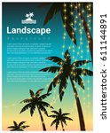 landscape background with palm... | Shutterstock .eps vector #611144891