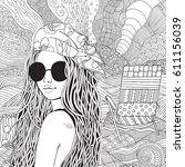 young beautiful girl in...   Shutterstock .eps vector #611156039