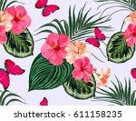 beautiful  vector floral summer ... | Shutterstock .eps vector #611158235