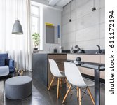 modern studio apartment with... | Shutterstock . vector #611172194