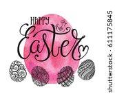 easter lettering on pattern...   Shutterstock .eps vector #611175845