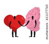 brain and heart friends.... | Shutterstock .eps vector #611177765