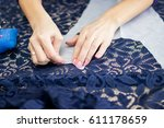 tailor. woman hands notch