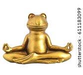 smiling gold yoga frog... | Shutterstock . vector #611183099