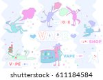funny set of vape wolves  e... | Shutterstock .eps vector #611184584