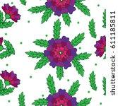 vector seamless floral pattern... | Shutterstock .eps vector #611185811