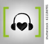 headphones with heart. vector.... | Shutterstock .eps vector #611186981