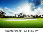 sunset on golf field | Shutterstock . vector #61118749