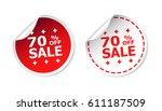 sale sticker. sale up to 70... | Shutterstock .eps vector #611187509