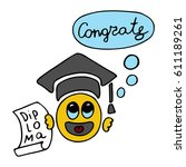 cute graduate student with... | Shutterstock .eps vector #611189261
