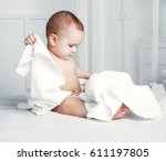 happy one year old baby wearing ... | Shutterstock . vector #611197805