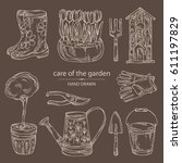 collection of tools for garden... | Shutterstock .eps vector #611197829