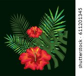 tropical flowers decorative card | Shutterstock .eps vector #611201345