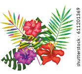 tropical flowers decorative card | Shutterstock .eps vector #611201369