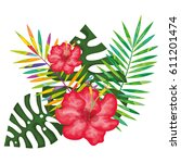 tropical flowers decorative card | Shutterstock .eps vector #611201474