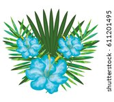 tropical flowers decorative card | Shutterstock .eps vector #611201495