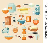 baking ingredients set with... | Shutterstock .eps vector #611203244