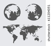 world map earth globes icon...   Shutterstock .eps vector #611204051