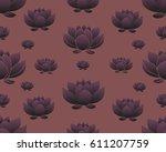 floral bohoo vintage seamless... | Shutterstock .eps vector #611207759
