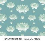 floral bohoo vintage seamless... | Shutterstock .eps vector #611207801