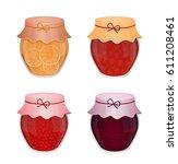 jars of jam. set of vector...   Shutterstock .eps vector #611208461