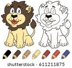 cute lion sitting. illustration ...   Shutterstock . vector #611211875