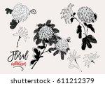 vector blooming chrysanthemum... | Shutterstock .eps vector #611212379