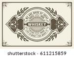 retro logo for whiskey or other ... | Shutterstock .eps vector #611215859