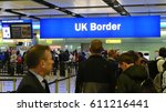 Small photo of London, UK - March 14, 2017: Air travelers queue at border control at Heathrow Airport. Passengers from the EU face uncertainty as the UK government is poised to trigger article 50 to initiate brexit.