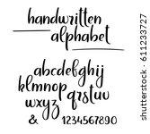 brush calligraphy alphabet.... | Shutterstock .eps vector #611233727