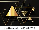 abstract golden geometric... | Shutterstock .eps vector #611235944