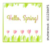 raster floral illustration with ... | Shutterstock . vector #611236691